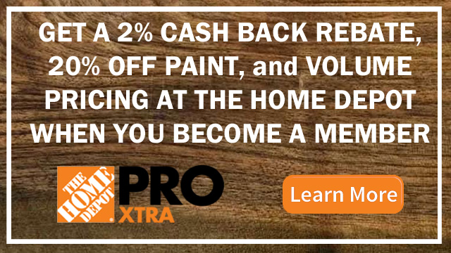 Save 20% on paint every day and get 2% rebates twice a year at the Home Depot