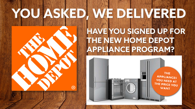 Get great deals on appliances exclusive to NREIA members at the Home Depot